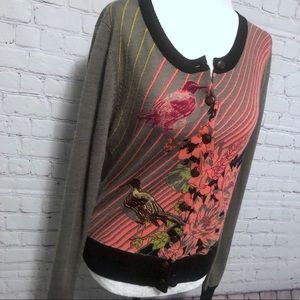 Anthropologie Knitted Dove Bird & Flowers Cardigan
